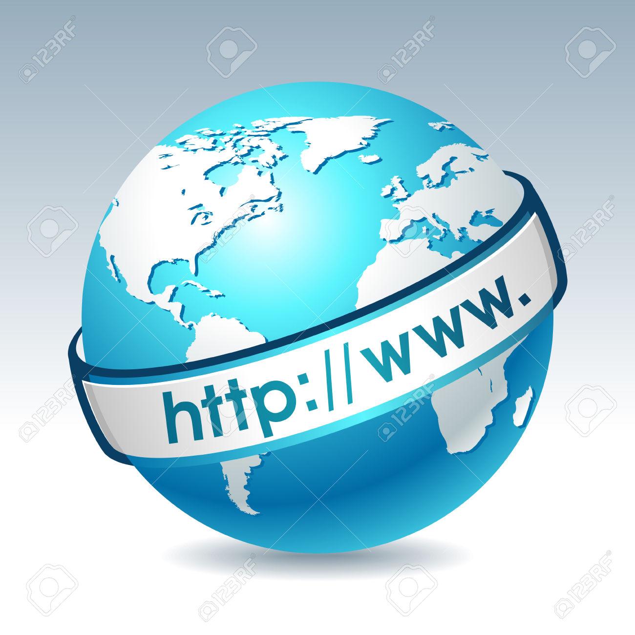 Globe With Internet Address. Clean Illustration On Gradient.