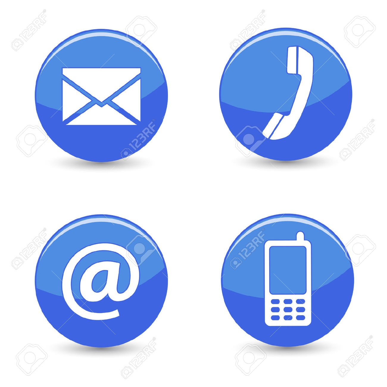 Website And Internet Contact Us Page Concept With Blue Glossy.