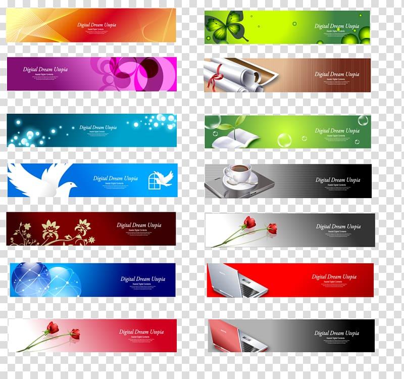 Web banner Advertising, design transparent background PNG.