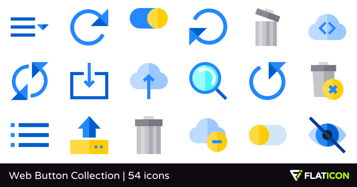 Web Button Collection 54 premium icons (SVG, EPS, PSD, PNG.