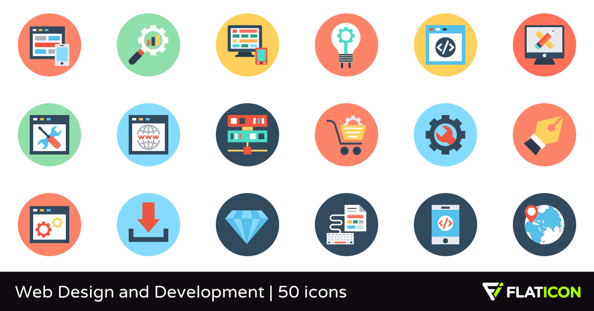 Web Design and Development 50 free icons (SVG, EPS, PSD, PNG.