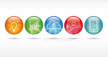 Information Technology Web Icon Set stock vectors.