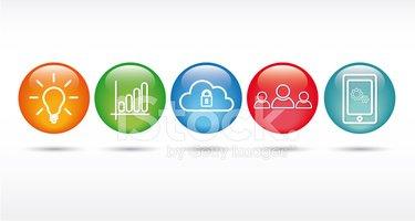 Information Technology Web Icon Set stock vectors.