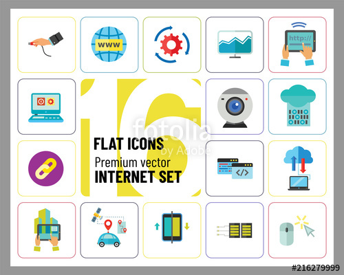 Internet Icon Set. Web Camera Mouse Synchronization Data.