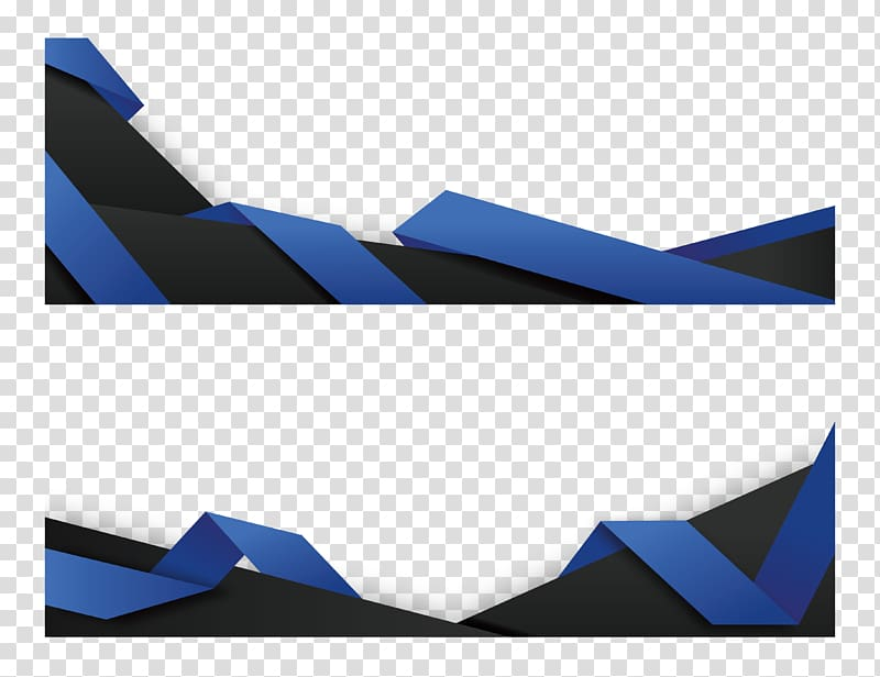 Paper Web banner Origami, Blue origami banner, two black.
