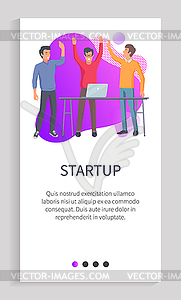 Startup Men Developers Giving High Five Website.