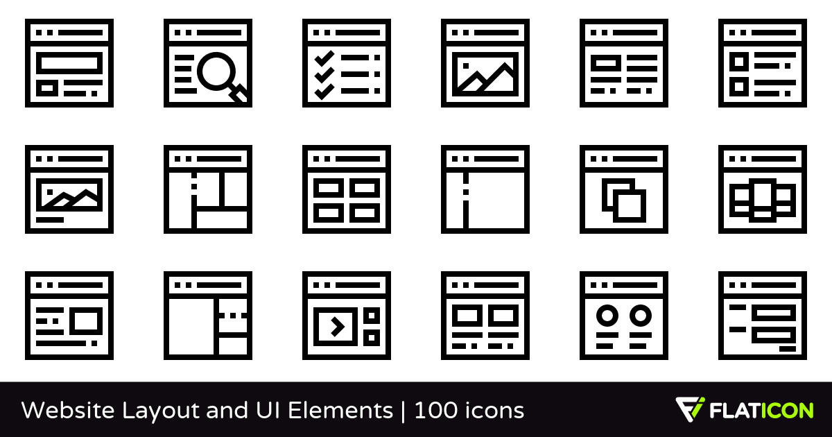 Website Layout and UI Elements 100 free icons (SVG, EPS, PSD.