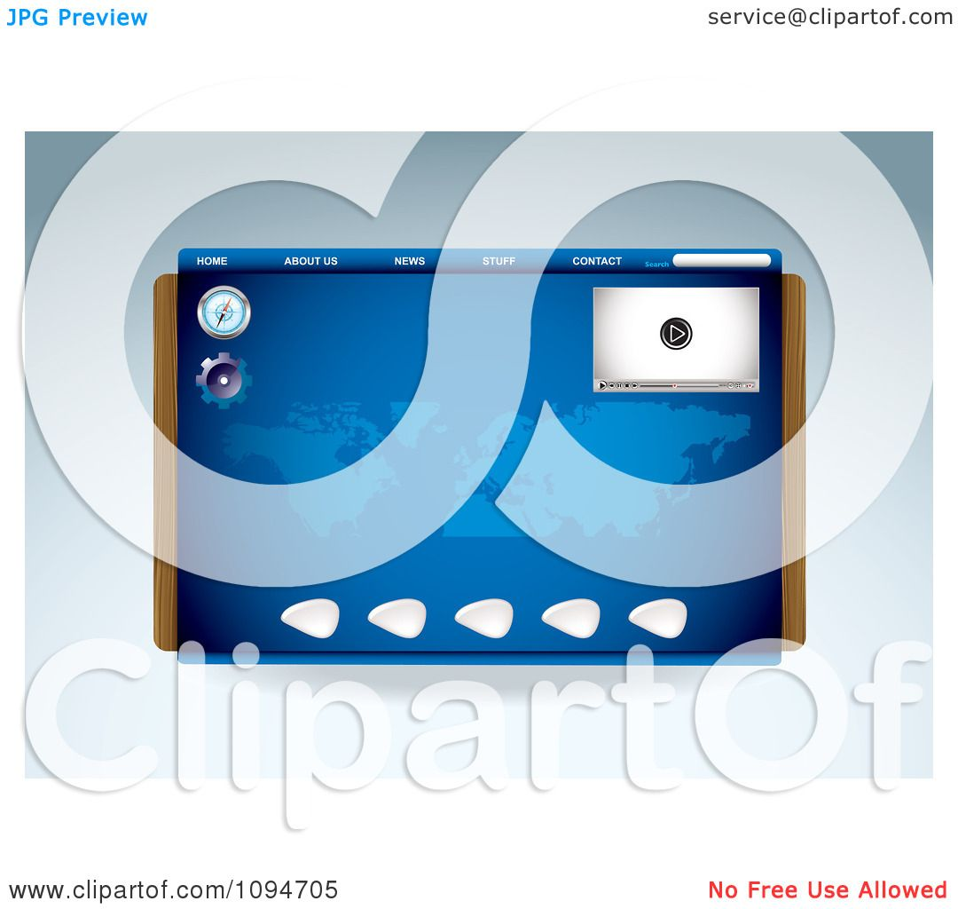 Clipart Blue Media Player Compass And Map Website Template Design.