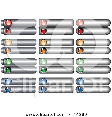 Clipart Illustration of Silver Website Tab Buttons With Colorful.