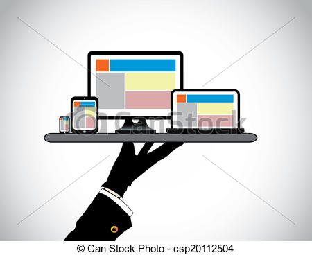 Stock Illustration of hand presenting desktop computer laptop.