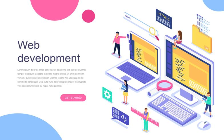 Isometric Website Development Web Banner.