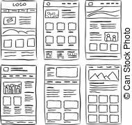 Doodle portfolio wireframe. Wireframe ui kit. web design.