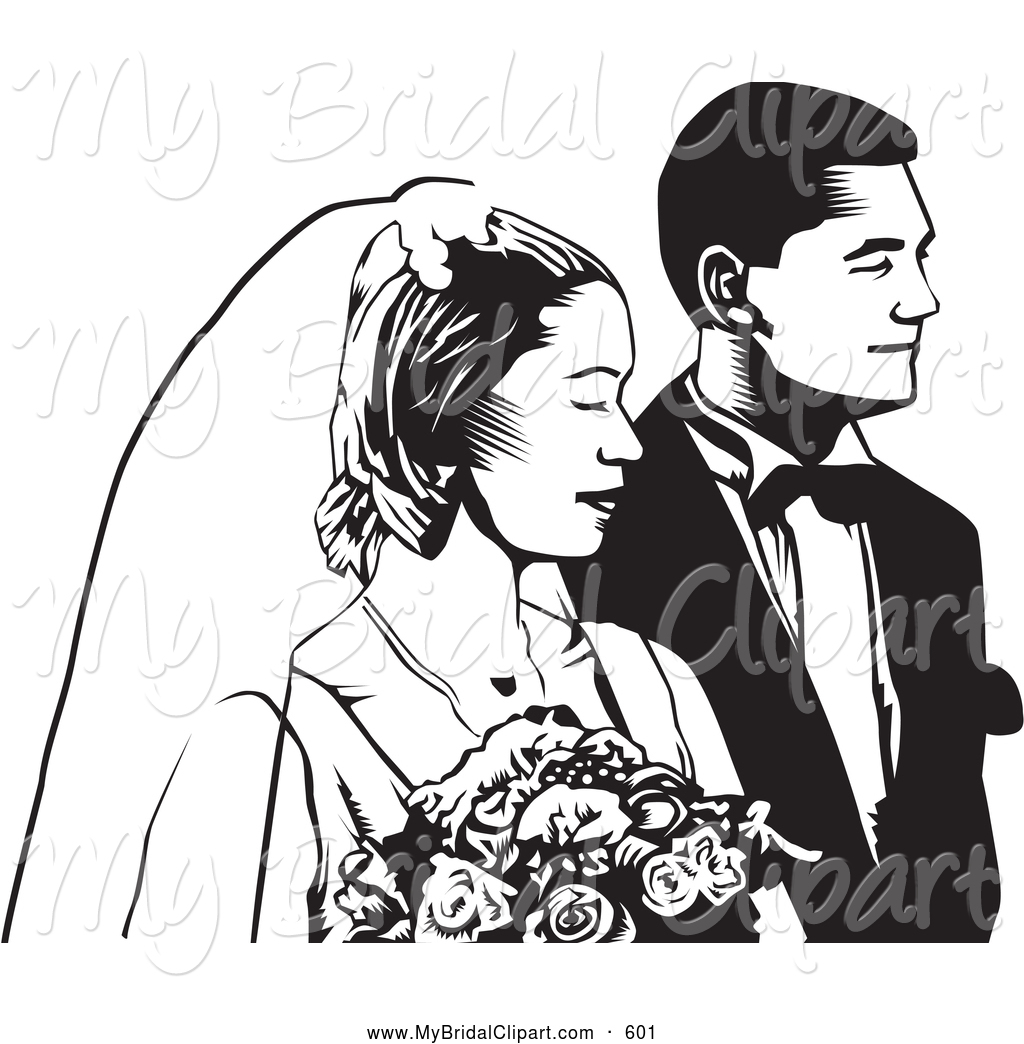 Wedding Couple Clipart Black And White.