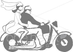 Wedded Couple on Motorcycle Clipart.