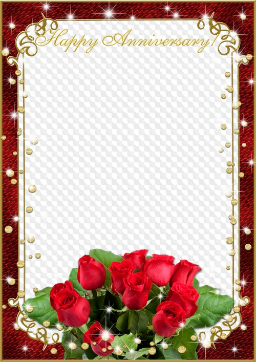 Photo frame Happy Anniversary!. Transparent PNG Frame, PSD.