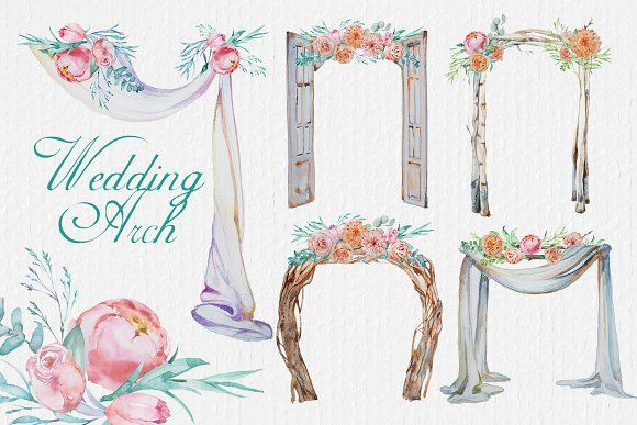 Watercolor Wedding Arches Clipart by ArtCreationsDesign on.