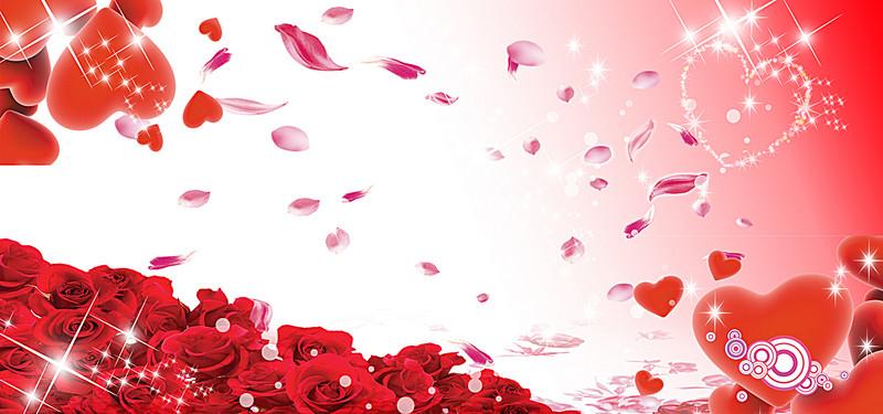 Wedding Background Banner, Red, Heart, Starlight Background.