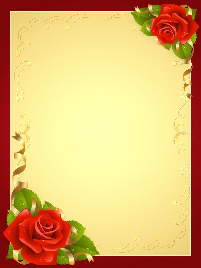 Hd Golden Wedding Background, Golden, Red, Rose Background.