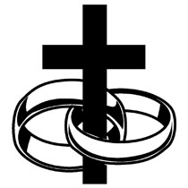 Wedding rings with cross clipart.