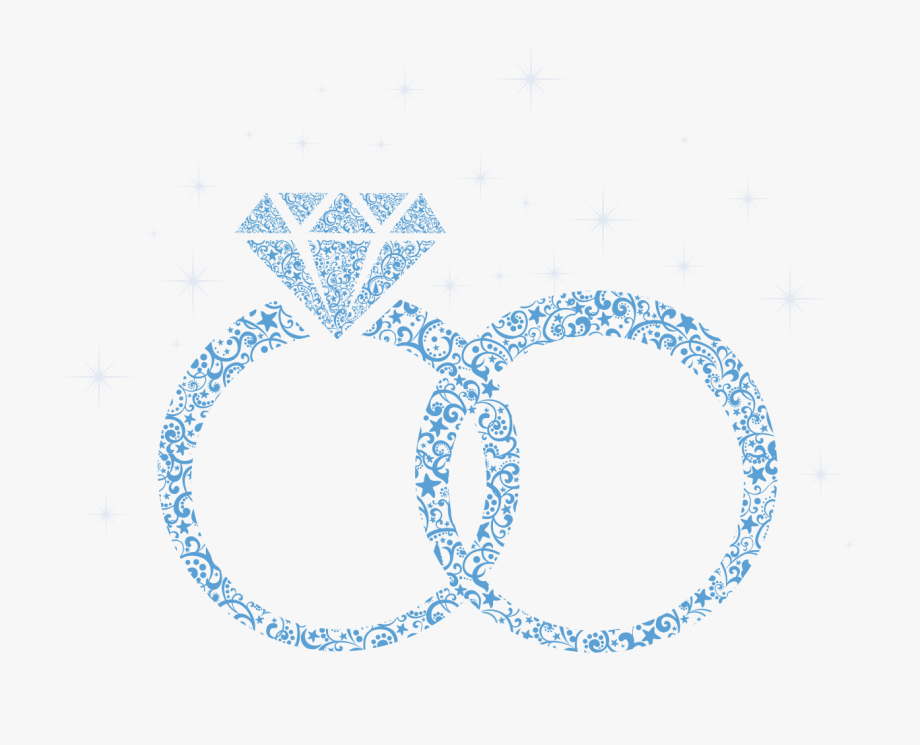 Blue Diamond Engagement Marriage Wedding Ring Clipart.