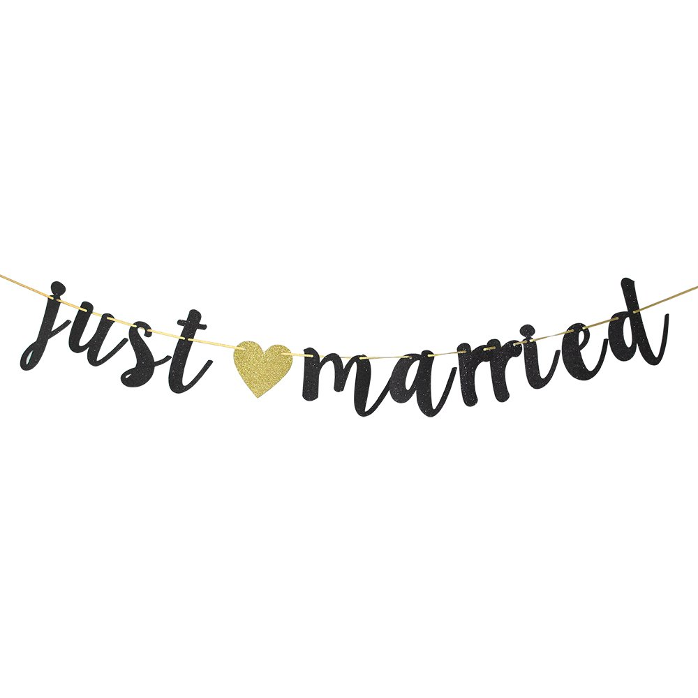 Black Glitter Just Married Banner.