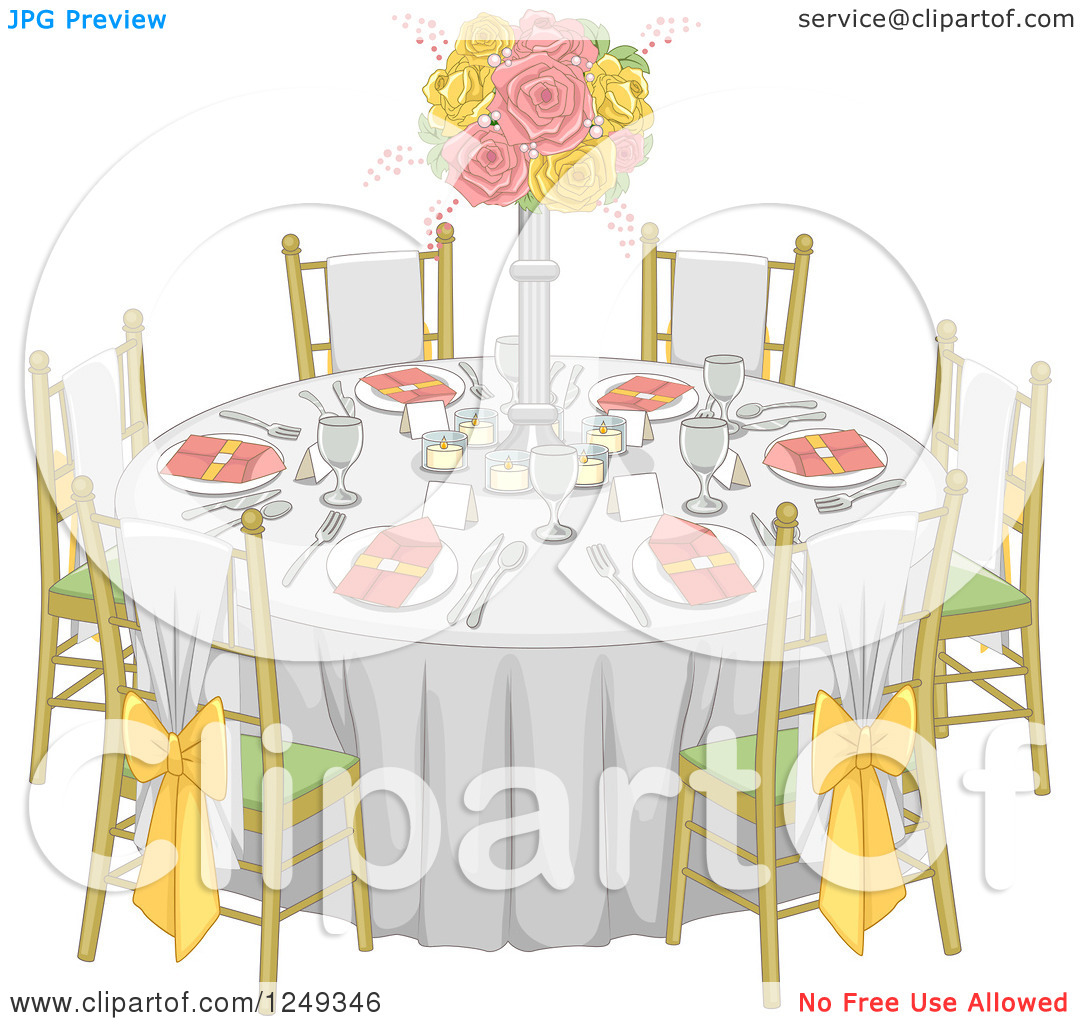 Wedding reception table clipart.