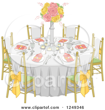 Wedding banquet dinner table setting clipart png.