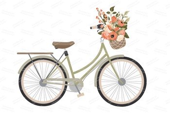Peach Floral Wedding Bicycle Vectors.