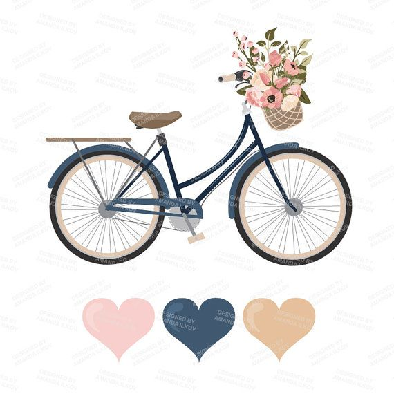 Premium Wedding Clipart & Vectors Navy And Blush Bicycle in.