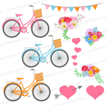 Spring Bicycle Clipart, Floral Bicycles Graphics, Wedding Bikes Clipart.