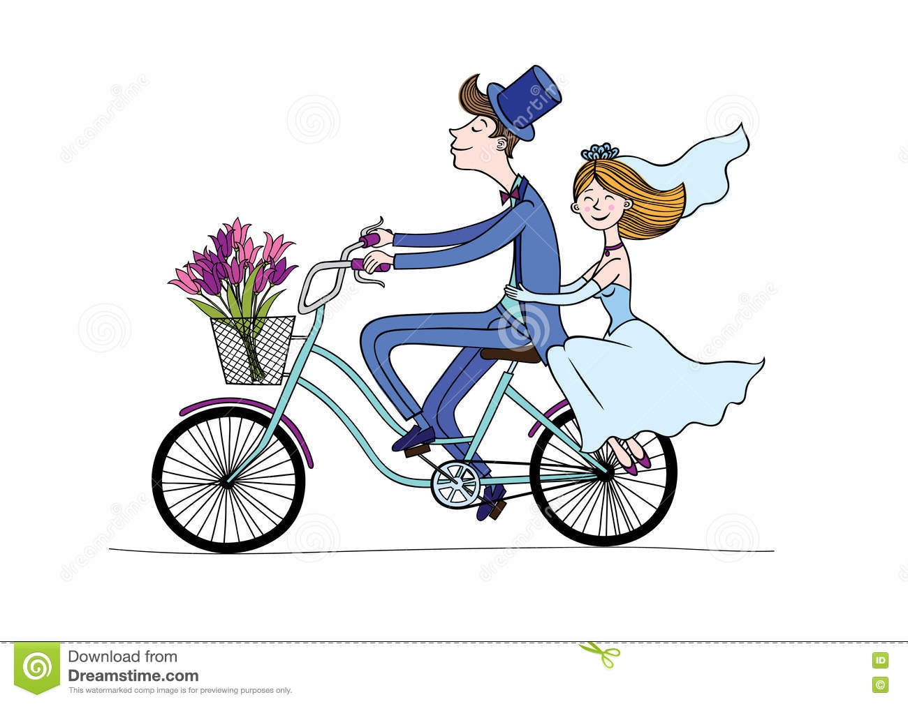 Wedding Bicycle Clipart.