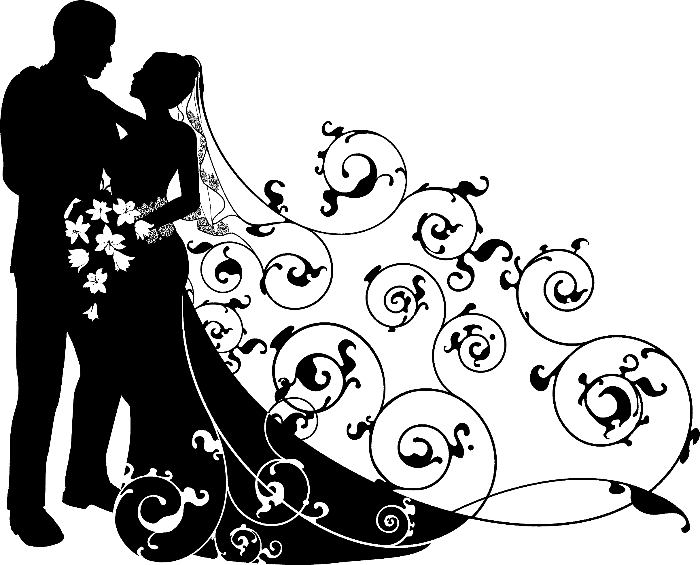 HD Wedding Couple Clipart Black And White , Free Unlimited.