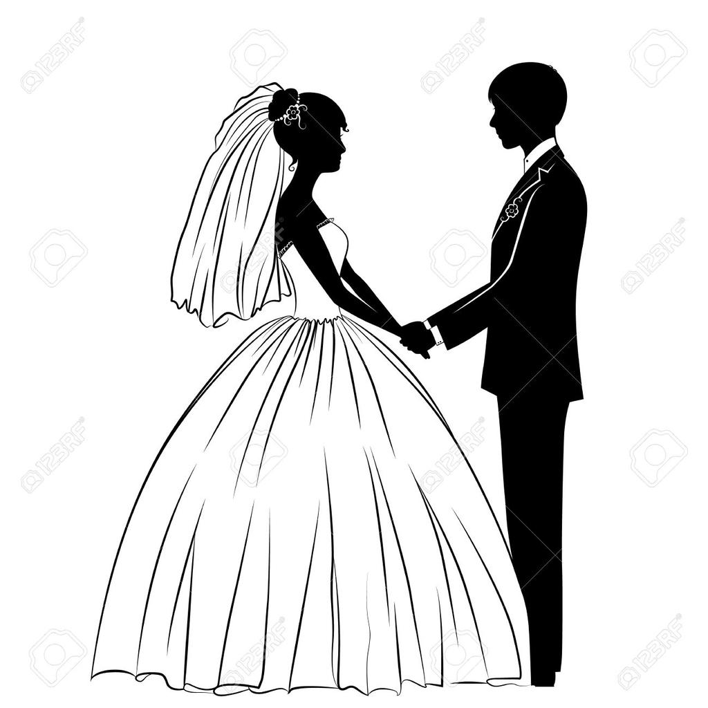 Wedding Couple Black And White Clipart Dress.