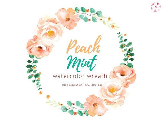 Watercolor Peach Mint wreath clipart.