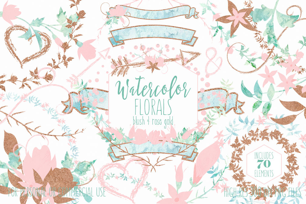 Mint Blush Pink & Rose Gold Watercolor Floral Wedding.