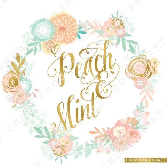 Peach Mint Flowers ClipArt Intant Download Digital Blush.