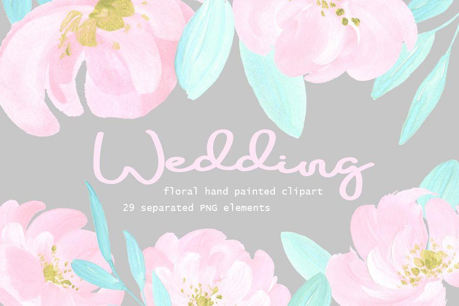 Wedding watercolor flowers blush mint colors.
