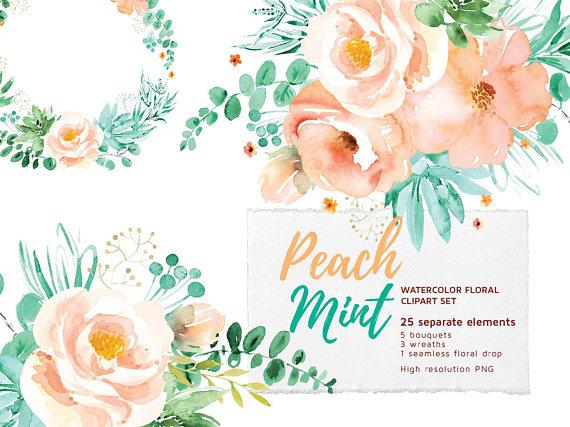 Peach Mint Floral Clipart Set.