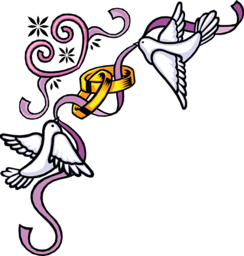 Wedding Border With Doves Clipart.