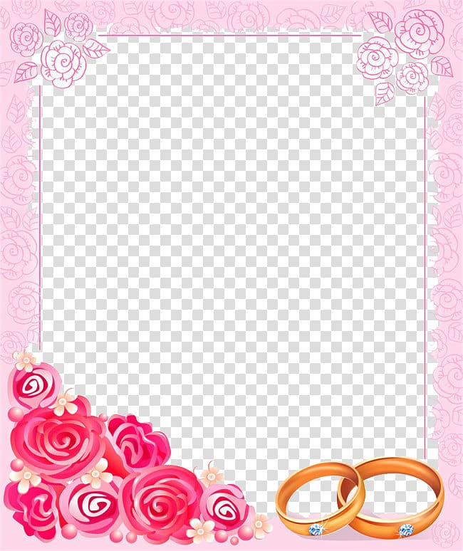Pink and red floral border , Wedding invitation frame.