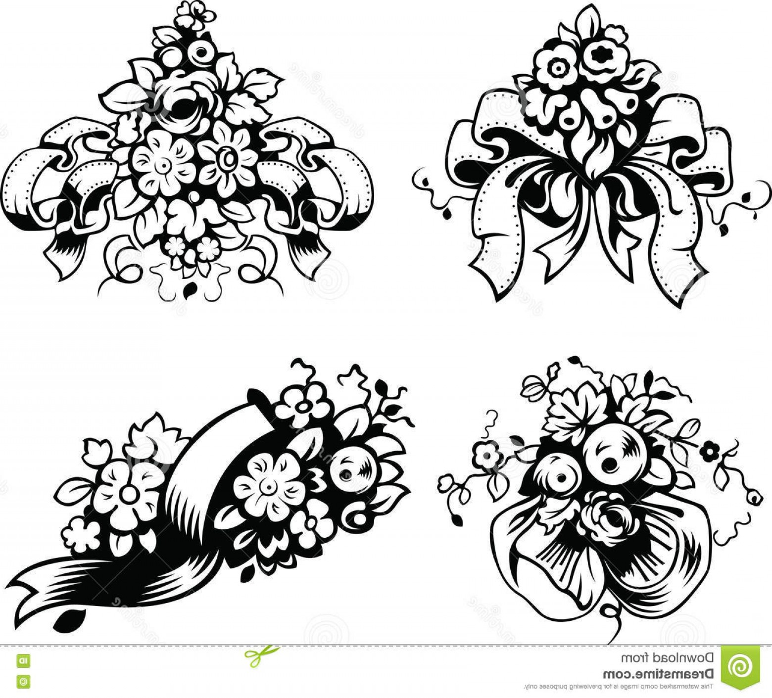 Stock Illustration Illustrations Wedding Bouquets Vector.