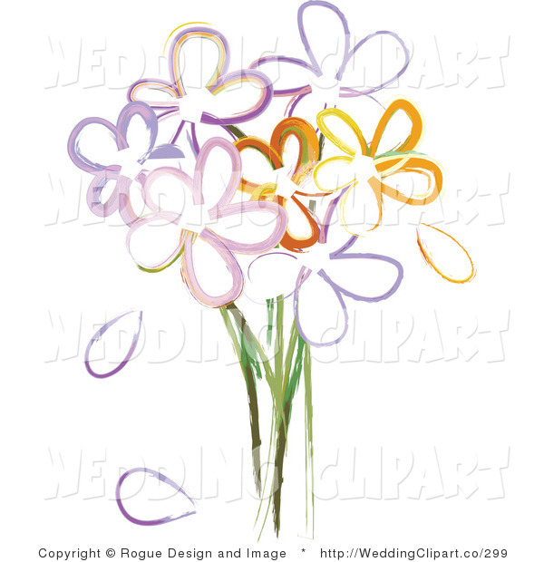Vector Marriage Clipart of a Wedding Bouquet of Painted Flowers by.