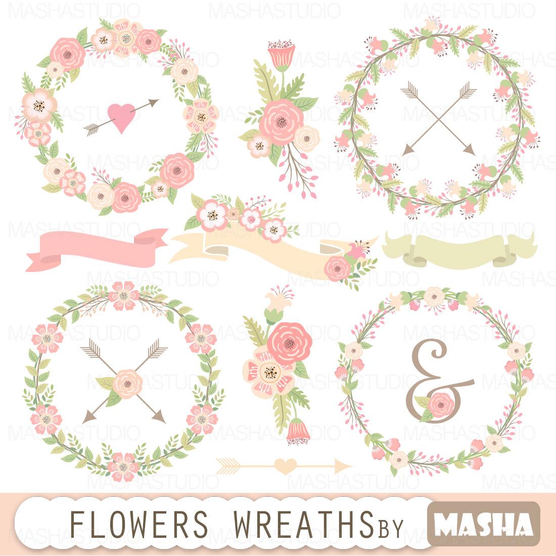 Wedding flowers wreaths clipart: