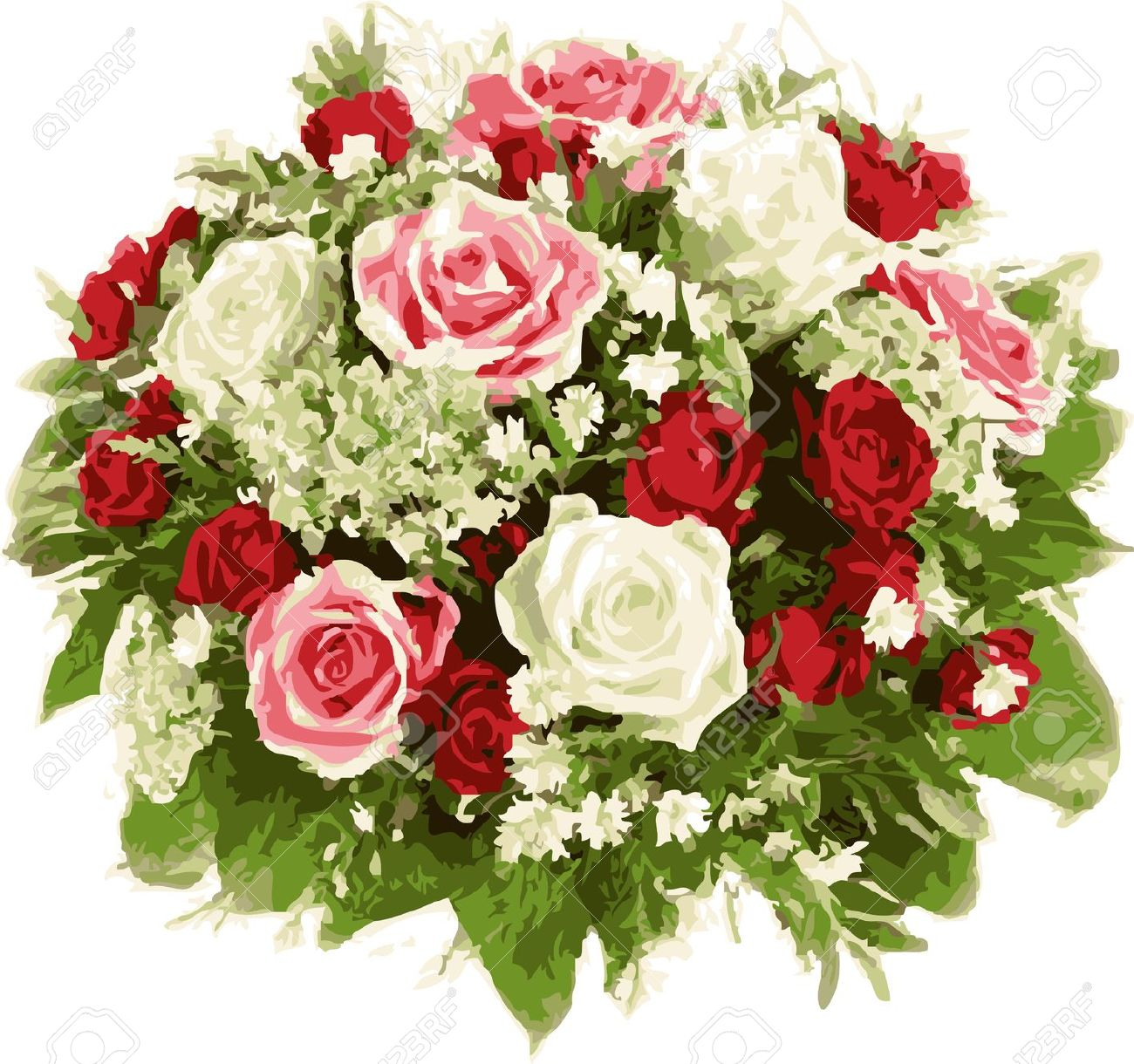 Bouquet Of Wedding Flowers. Red And White Roses. Royalty Free.