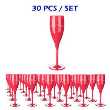 30Pcs Red Plastic Classicware Glasses.