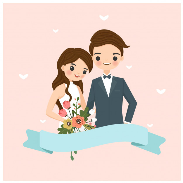 Cute bride and groom cartoon for wedding invitation card.