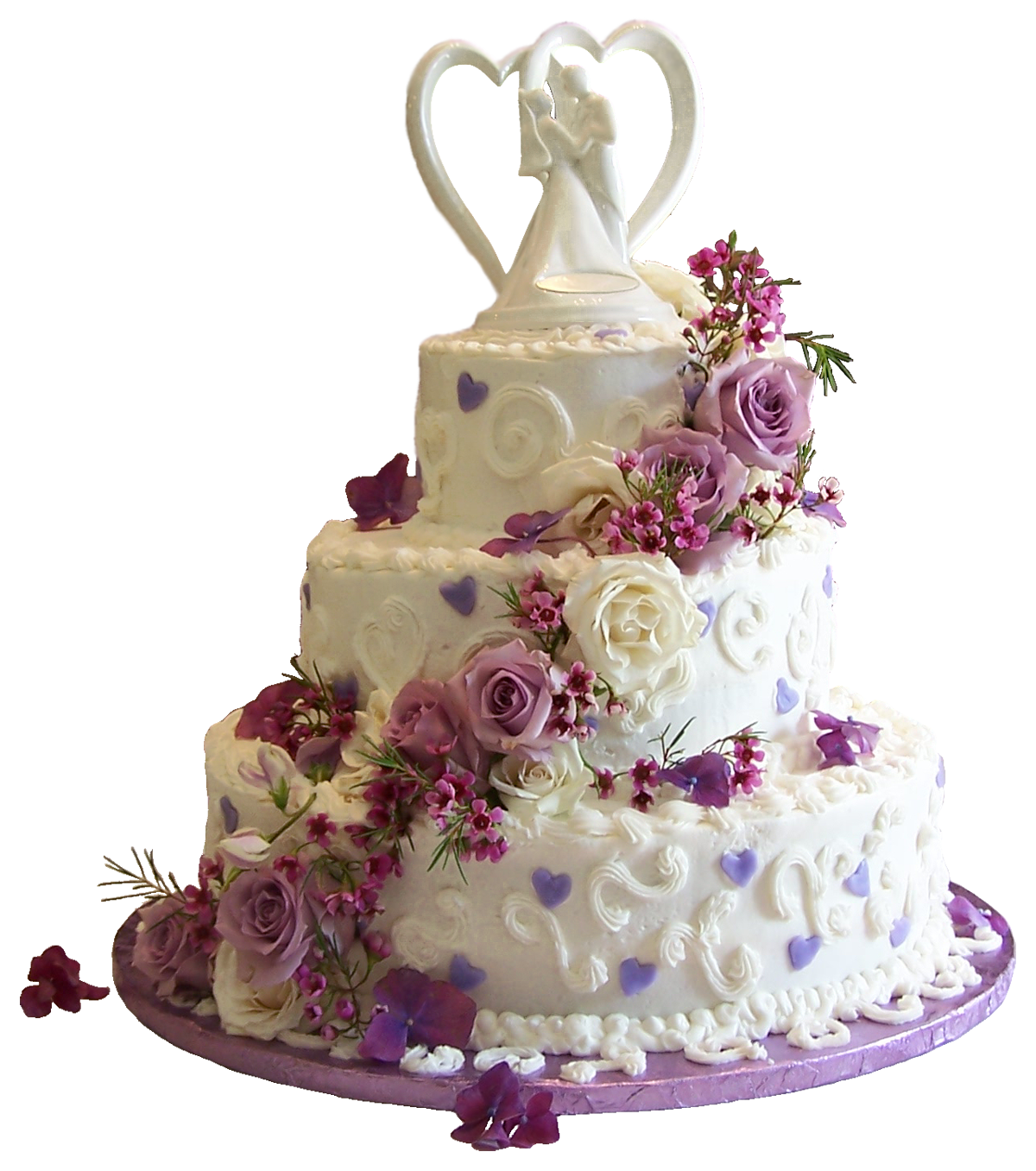 White Wedding Cake with Purple Roses PNG Clipart.