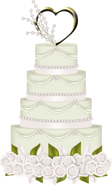 White Wedding Cake with Heart PNG Clipart.