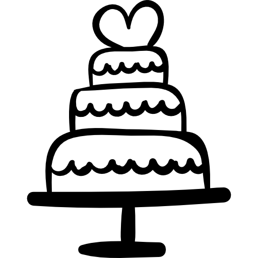 Wedding cake with heart Icons.