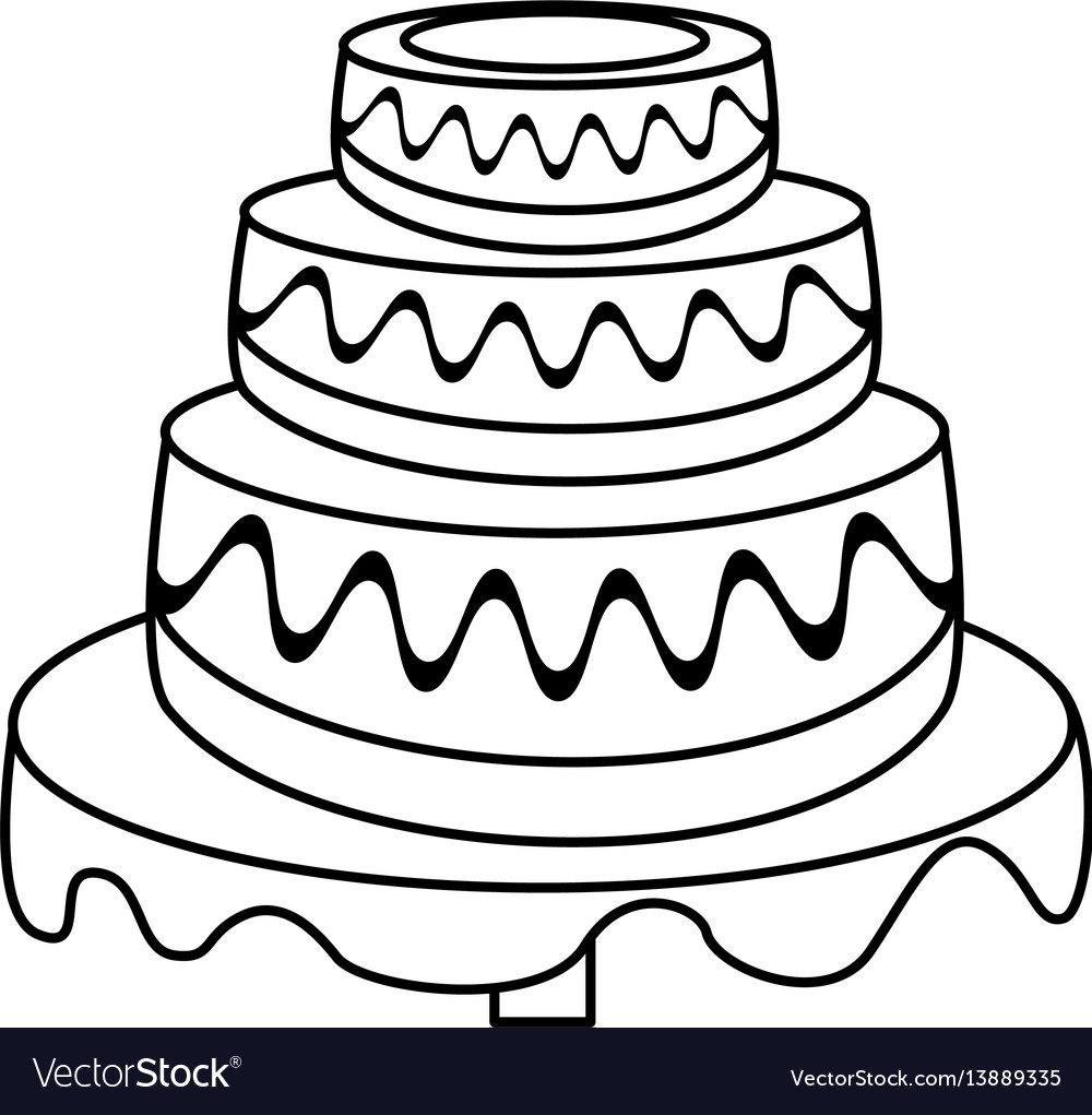 Wedding cake dessert outline.